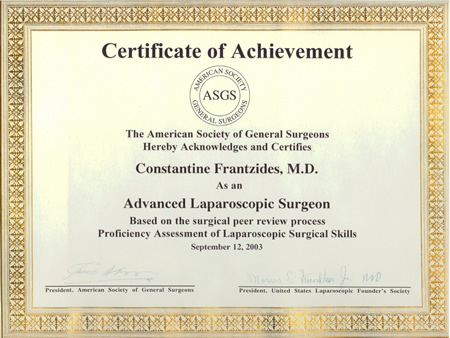 dr frantzides diplomas and certificates